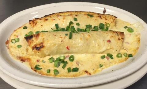 Take & Bake Seafood Enchiladas with Shrimp, Crab, whitefish and poblano cream sauce